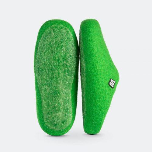 green-felt-slippers-woolig-handmade